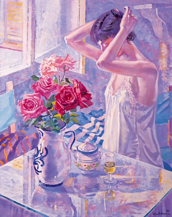 Vino y rosas oleo sobre lienzo 92x73 cm