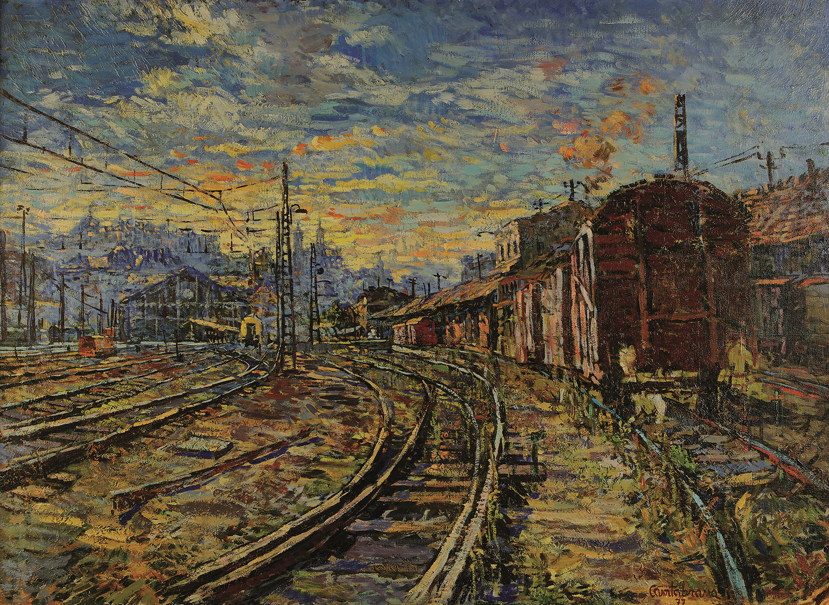El amanecer oleo sobre lienzo 81x100 cm Estacion del Norte, Madrid