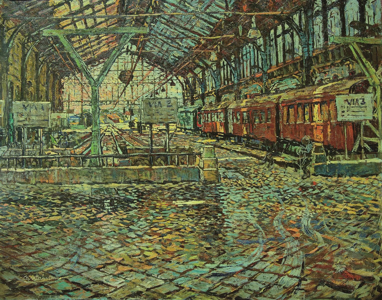 El interior de la estacion oleo sobre lienzo 73x92 cm Estacion del norte, Madrid