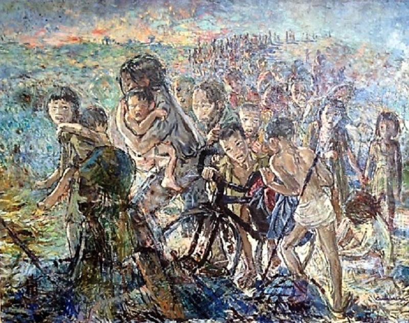 Huida de Vietnan oleo sobre lienzo 114x145 cm