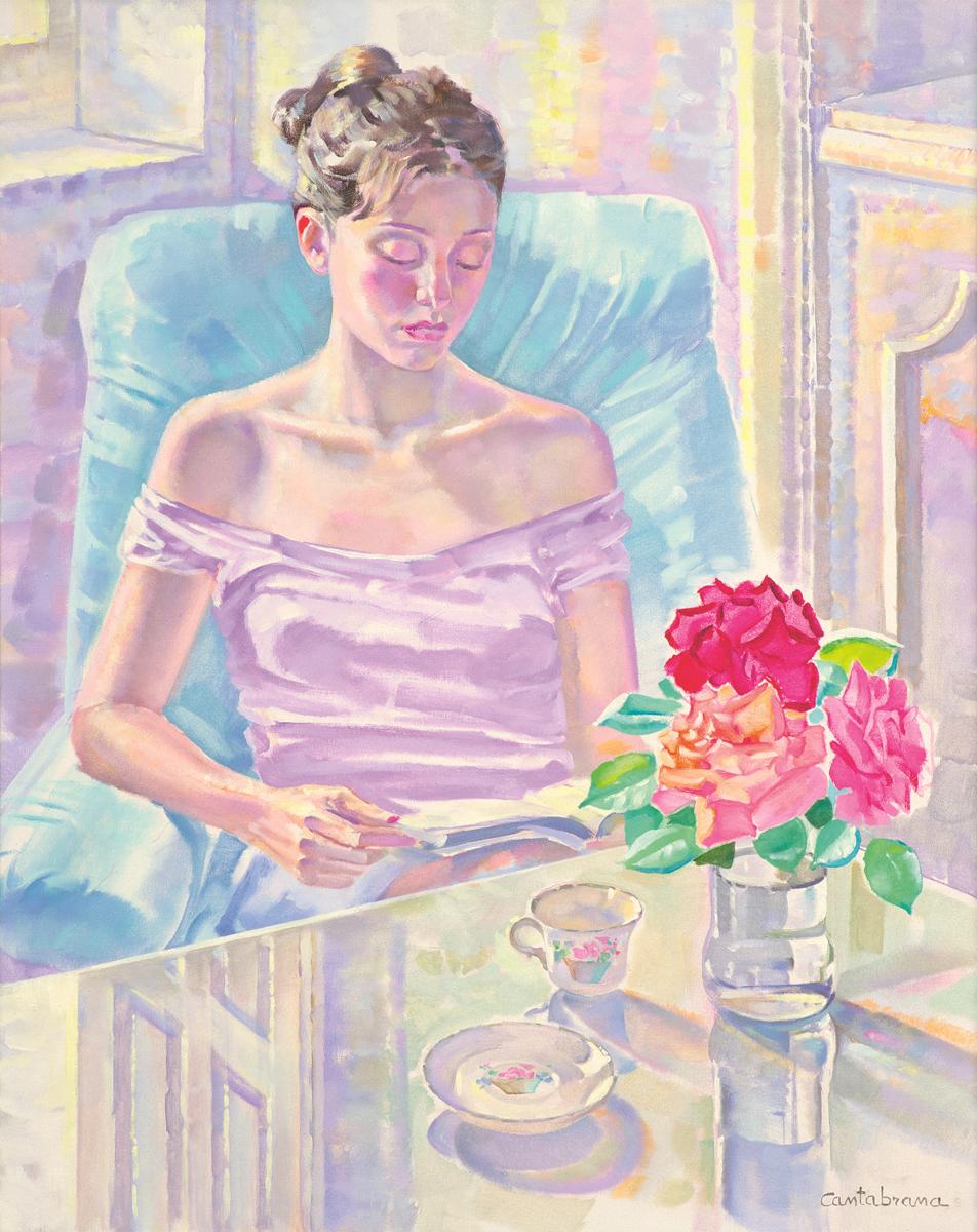 Joven-leyendo-y-rosas-oleo-sobre-lienzo-81x65-cm