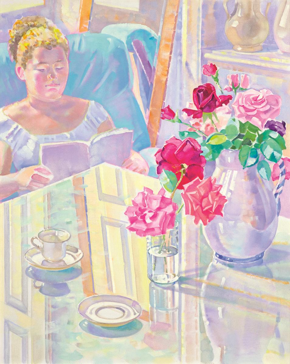Nina-leyendo-y-rosas-oleo-sobre-lienzo-81x65-cm