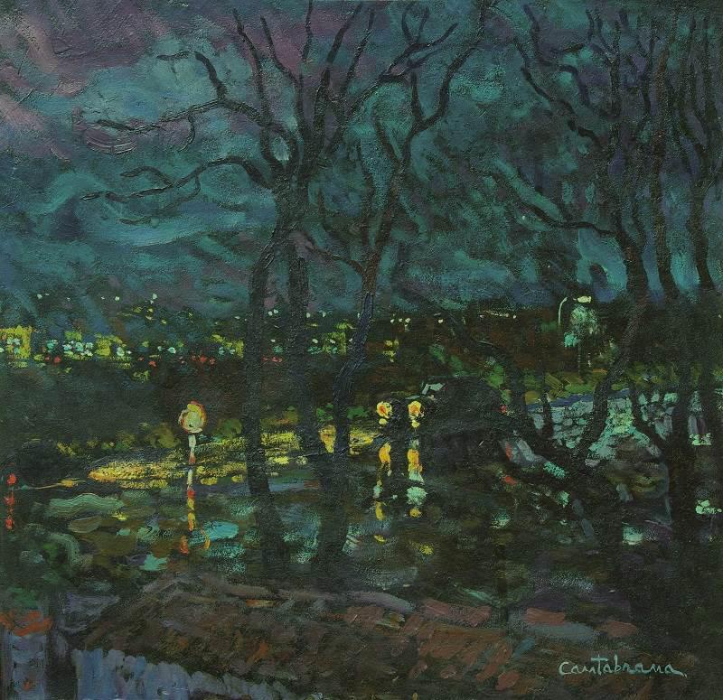 Nocturno-con-lluvia-oleo-sobre-tabla-42x42-cm