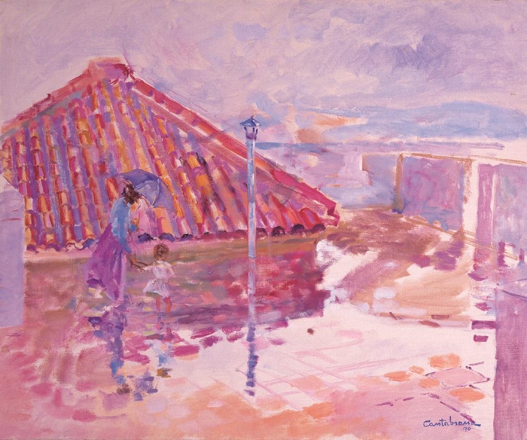 Terrazza con lluvia oleo sobre lienzo 54x65 cm